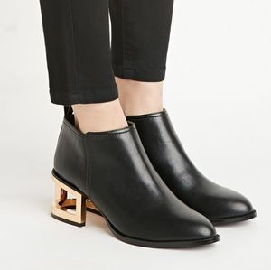 Forever 21 Black Boots with Gold Cut Out Heel